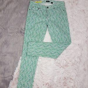 J. CREW Green Purple Floral Toothpick Jeans